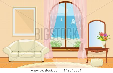 Living room with sea views. View over the sea and the beach. Hotel room in an exotic location. Vector illustration.