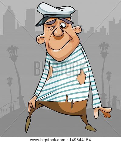 cartoon funny male sailor in ragged clothes