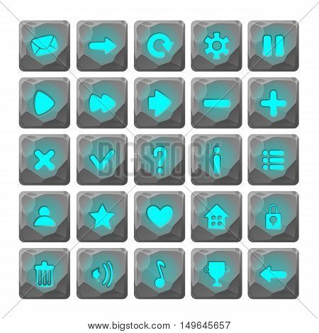 Set of Cartoon stone buttons with web icons, isolated vector elements. Gui elements, vector isolated games assets.menu set for mobile games.vector GUI elements kit.blue glow