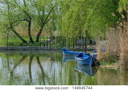 Image With Willows And Blue Boats Over Lake Water. Weeping Willow With Long Branches Reflecting In L