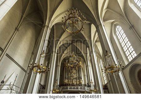 VIENNA AUSTRIA - JUNE 25 2016: Interior of Augustinian Church (Augustinerkirche ) in Vienna is a parish church located on Josefsplatz next to the Hofburg (1339).