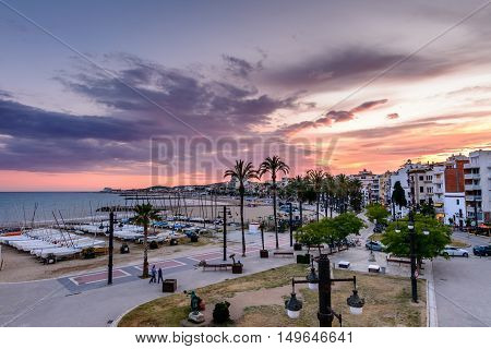 Sitges, Spain - June 10: View With Spain Beach And Promenade Area On June 6, 2016 In Sitges, Spain.