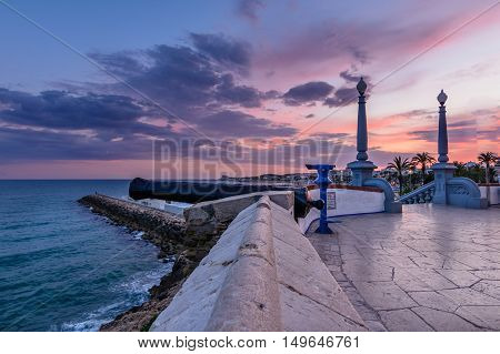 Sitges, Spain - June 10: Perspective View With Cliff On June 6, 2016 In Sitges, Spain. This Coastal