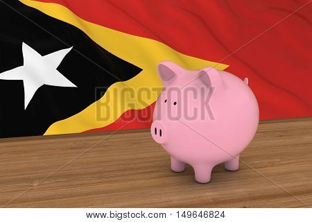 East Timor Finance Concept - Piggybank In Front Of East Timorese Flag 3D Illustration