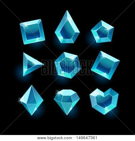 Set of cartoon blue different shapes crystals, gemstones, gems, diamonds vector gui assets collection for game design.isolated vector elements.Gui elements, vector games assets.menu for mobile games
