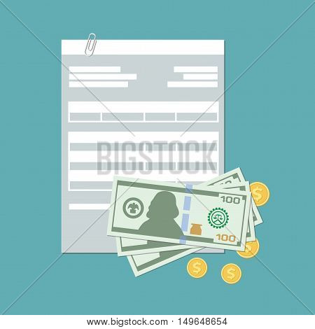 Payment concept. Invoice, tax bill, account, check with cash and gold coins. Payment in cash.