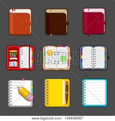 Collection of various open and closed notebooks, diary, sketchpad, pocketbook. Set of different notepads and tablets with notes and bookmarks. Vector icon.