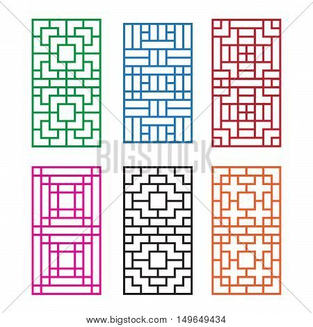 Korean ornament for door window wall and fence vector