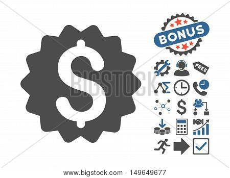 Financial Reward Seal pictograph with bonus pictograph collection. Glyph illustration style is flat iconic bicolor symbols, cobalt and gray colors, white background.