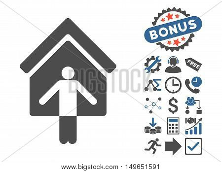 House Owner Wellcome icon with bonus clip art. Glyph illustration style is flat iconic bicolor symbols, cobalt and gray colors, white background.