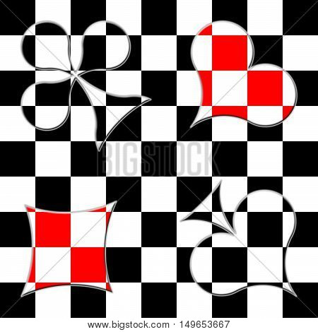 Card suits on the checkered black-and-white background