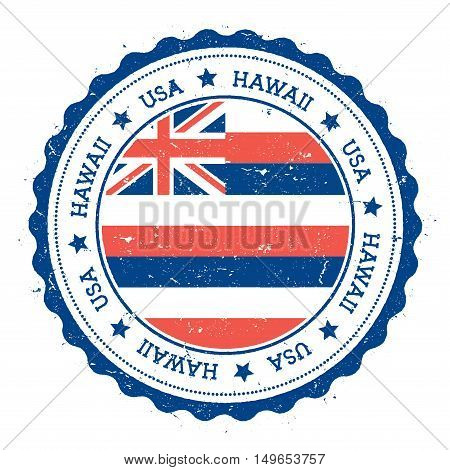 Hawaii Flag Badge. Grunge Rubber Stamp With Hawaii Flag. Vintage Travel Stamp With Circular Text, St