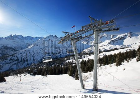 View To Ski Slopes And Ski Chairlifts On The Top Of Fellhorn Ski Resort, Bavarian Alps, Oberstdorf,