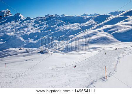Skiers On The Ski Slopes In Hoch-ybrig Ski Resort, Canton Schwyz, Central Switzerland