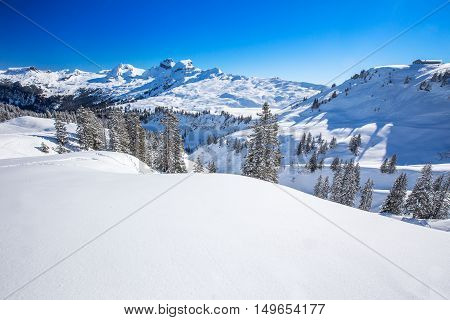Swiss Alps Covered By Fresh New Snow Seen From Hoch-ybrig Ski Resort, Central Switzerland