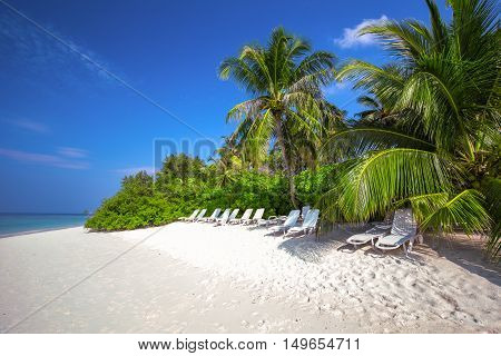 Tropical island with sandy beach palm trees overwater bungalows and tourquise clear water