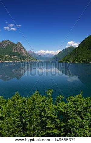 View To Lugano Lake And Swiss Allps, Ticino, Switzerland