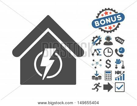 Power Supply Building pictograph with bonus clip art. Glyph illustration style is flat iconic bicolor symbols, cobalt and gray colors, white background.