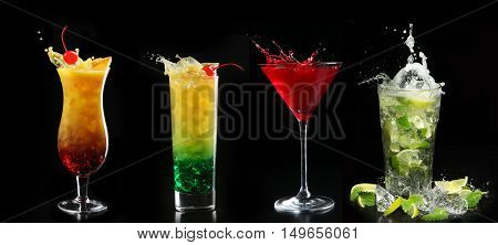Alcohol Bar,cocktail Glass In A Bar, Drinking Cocktail In Bar, Cocktail In The Glass With Straws, Bu