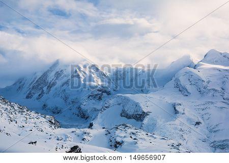 Amazing View On Zermatt - Famous Ski Resort In Swiss Alps, With Aerial View On Zermatt Valley, Switz