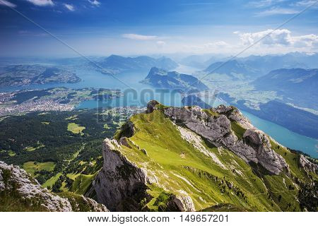 Beautiful View To Lucerne Lake (vierwaldstattersee), Mountain Rigi And Buergerstock From Pilatus, Sw