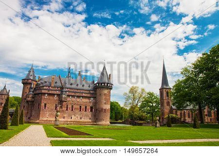 HAARZUILENS NETHERLANDS - May 18 2012: Castle de Haar with the beautiful garden