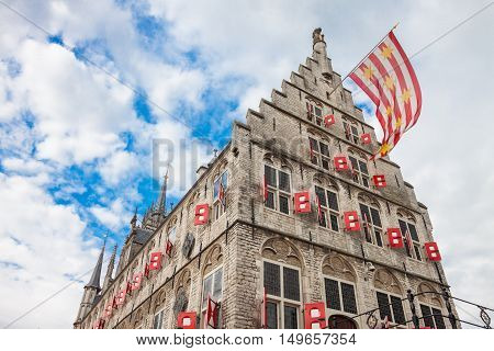 Gouda, Netherlands - May 18, 2012: Gothic Building Of The Old Town Hall In Gouda, Netherlands