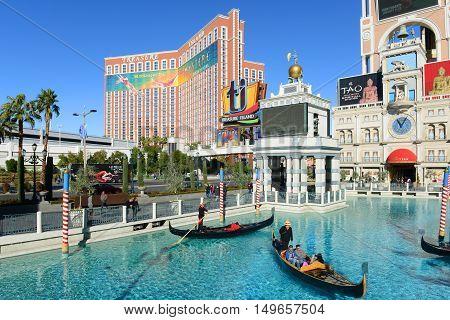 LAS VEGAS - DEC 24, 2015: Treasure Island is a luxury resort and casino on Las Vegas Strip in Las Vegas, Nevada, USA. The hotel has Caribbean Pirates theme.