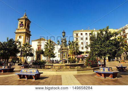 ALGECIRAS, SPAIN - SEPTEMBER 24, 2016: Historic Plaza Alta (High Square) in the old town of Algeciras, Spain. It is one of the major centres of activity in the city on September 24, 2016.