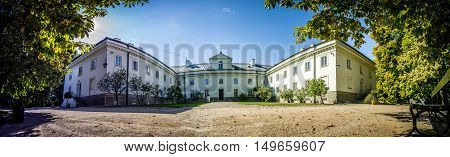 WARSAW POLAND - SEPTEMBER 27: Officer cadets school in Royal Baths Park Lazienki Park in Warsaw Poland on September 27 2016