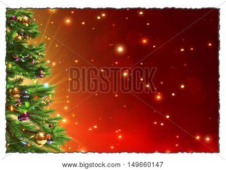 red christmas greeting card illustration - 3D render