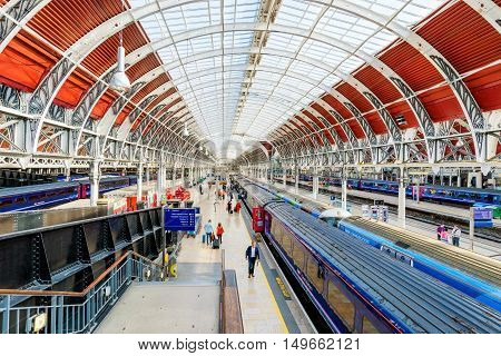 LONDON - SEPTEMBER 08: View of Paddington station's traditional architecture with trains awaiting passengers to board on September 8th 2016 in London
