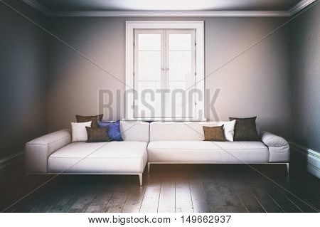 3D render of large single modular living room sofa with window in center of wall