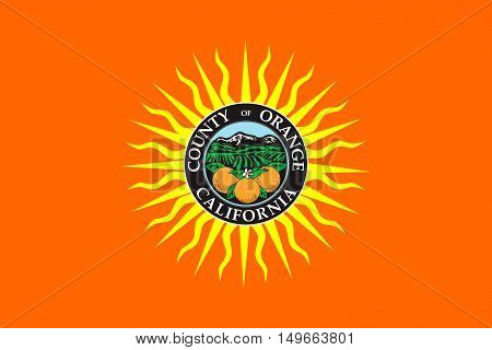 Flag of Orange County in California state United States