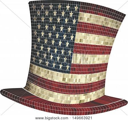 Cylinder with USA flag - Illustration,  American hat,   Mosaic hat in America
