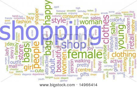 Word cloud concept illustration of consumer shopping