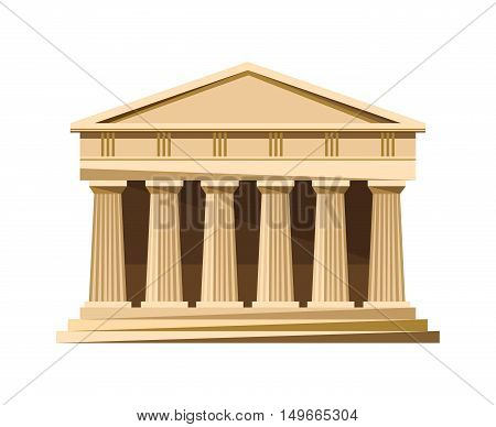 Greek temple icon isolated on white background. Vector illustration for famous architecture design. Greece ancient. Parthenon monument. Column landmark.