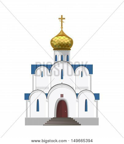 Russian orthodox church icon isolated on white background. Vector illustration for religion architecture design.