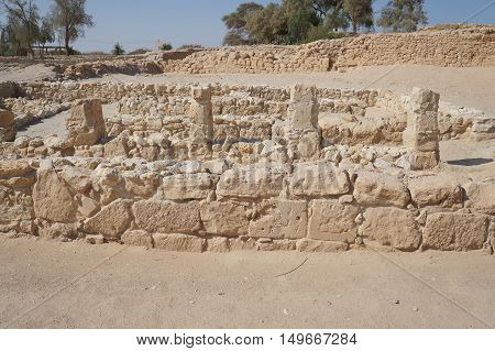 Biblical Tamar park, Arava, South Israel. Remains of Israelite period four rooms house