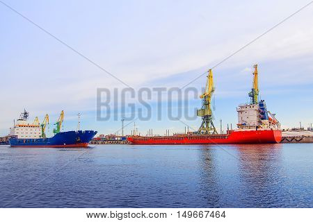 Cargo Port. The Two Ships. Ship Red Collection. The Blue Ship Is Sailing.