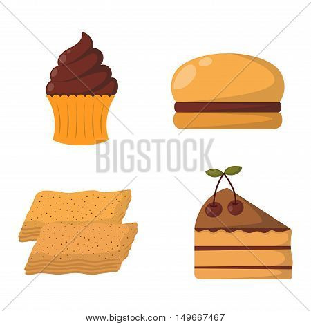 Vector illustration of bakery product food collection. Breakfast wheat meal chocolate dessert bakery products. Fresh grain product bun roll bakery products grocery health diet snack gourmet cereal.
