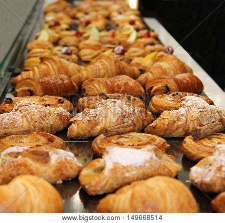 A Display of a Variety of Freshly Baked French Pastries.