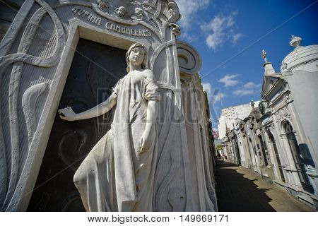 Buenos Aires Argentina - Sept 23 2016: Close up view of the tomb of Rufina Cambaceres at the La Recoleta Cemetery in Capital Federal.