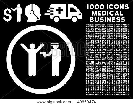 White Police Arrest glyph rounded icon. Image style is a flat icon symbol inside a circle black background. Bonus clipart is 1000 medical business design elements.