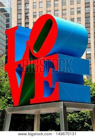 Philadelphia Pennsylvania - June 25 2013: Robert Indiana's famous LOVE sculputre in John F. Kennedy Plaza