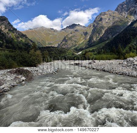 mountain landscape with mountain river Svaneti Georgia