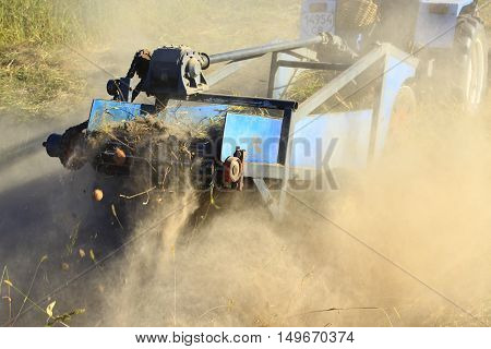 special equipment digger on a tractor for digging the potato in agriculture