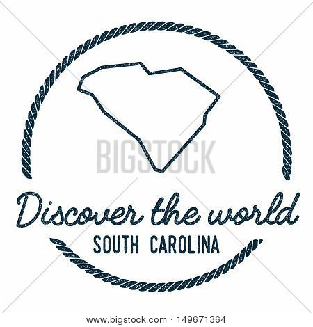 South Carolina Map Outline. Vintage Discover The World Rubber Stamp With South Carolina Map. Hipster