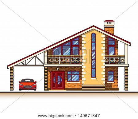 House or cottage, a carport and a car. Color graphics vector