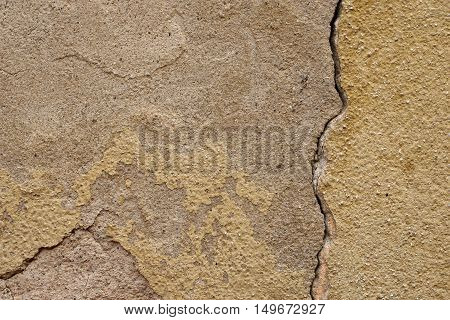Grunge,rough, Hoarse Old Plaster Wall With Painted Part